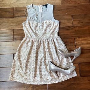 Forever 21 Gold Patterned Mesh Top Dress